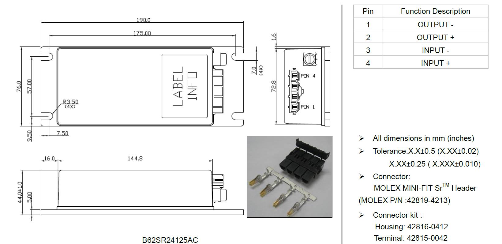 B62 Sr Series Dc Converter 300w Rail Signalling Powerbox 5vdc Single Polarity To 12vdc Dual Technical Illustration