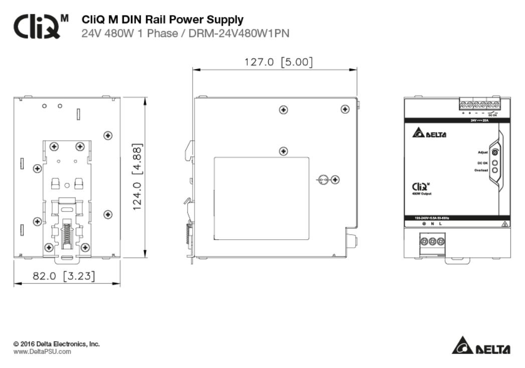 DRM-24V - Delta 1Ph AC/DC DIN Rail | Powerbox