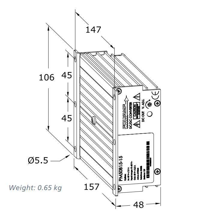 pm50 dc  dc industrial converter dual single output